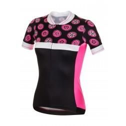 Zero RH+ Koszulka rowerowa damska Preppy Black/Fluo Pink/White