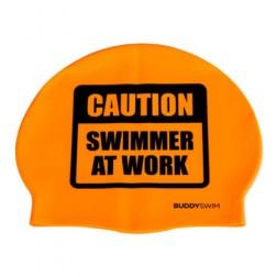 Buddyswim czepek pomarańczowy Caution Swimmer at Work