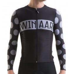 Winaar koszulka kolarska czarna w grochy długi rękaw